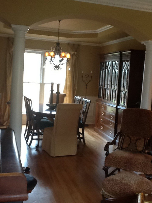 Dining Room Into A More Casual Family Space By Painting My 18th Century Mahogany China Cabinet Black Chairs Too And Replacing Formal Table With