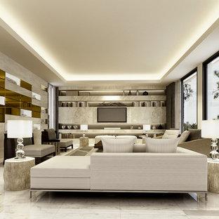 Foto di un grande soggiorno minimal chiuso con sala formale, pareti beige, pavimento in marmo, nessun camino e TV a parete