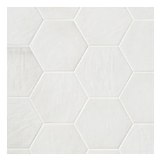 Haywood Hex 7.80 in. x 8.89 in. Polished Porcelain Wall Tile, White