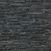 Glacial Black 3D Stacked Stone, 3D Honed, 6x24, Marble, Hardscape, 50 SqFt