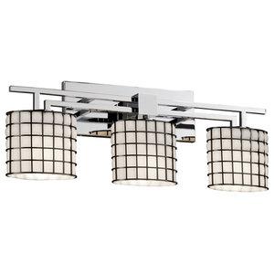 Justice Designs Wire Glass Aero 3-Light Bath Bar, Polished Chrome