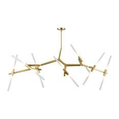 Glass Bar Rod Light Fixture, Brass