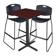 "Cain 30"" Square Café Table, Mahogany and 2 Zeng Stack Stools, Black"