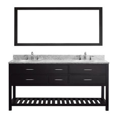 72-inch Double Bath Vanity In Espresso With Marble Top And Round Sink With Mirror