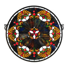 """19""""Wx18""""H Middleton Medallion Stained Glass Window"""