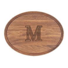 BigWood Boards Oval Monogram Walnut Cheese Board, M