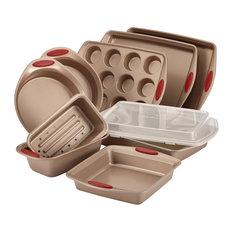Cucina Nonstick Bakeware 10-Piece Set, Latte Brown, Cranberry Red Handle Grips