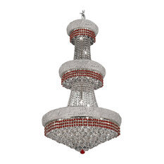 Chandelier Moroccan With Red Crystal Silver