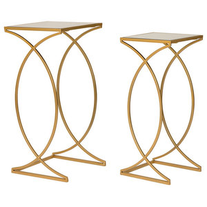 Metal With Glass Gold Accent Table, Set of 2