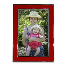 Silver Plated 4x6 Metal with Red Enamel Picture Frame