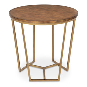 Solvay Wood and Metal Side Table, Walnut Brown 23.75x23.75x23.25