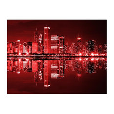Chicago Wall Mural, Wine Red, 300x231 cm