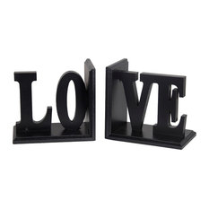 "Privilege International Wooden ""Love"" Bookends, 2-Piece Set"