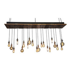 Reclaimed Wood Rustic Chandelier, 20 Pendants, Oil Rubbed Bronze, Flush Toggle