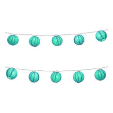 10 Round Paper Lanterns on Electric String Light, Turquoise