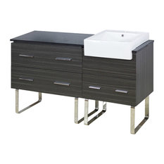 "57.75""18"" D Modern Plywood-Melamine Vanity Base Set Only in Dawn Gray"