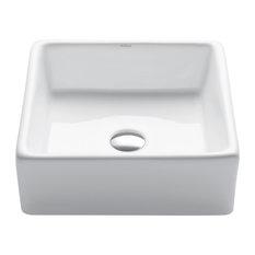"KRAUS Elavo Square Vessel White Porcelain Ceramic Bathroom Sink, 15"""