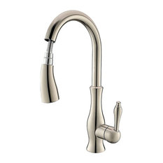 Moravia Deck Mounted Kitchen Sink Faucet With Pull Down Spray, Brushed Nickel