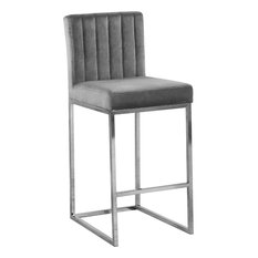 Alt Velvet Counter Stool, Gray, Chrome Base