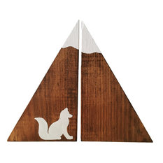 2-Piece Woodland Fox Stained Wood Mountain Bookend Set