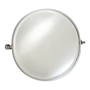 "Round Mirror With Trim, Polished Chrome, Round 24"""