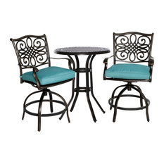 """Traditions3Pc: 2 Counter Height Swivel Chairs, 30"""" Round Cast Tbl, 36""""H"""