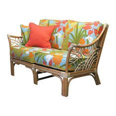 Bali Love Seat In Natural Kanvastex White Fabric