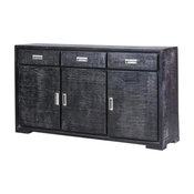 Sidon Distressed Black Reclaimed Wood 3 Drawer Large Sideboard Cabinet