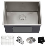 """KRAUS - KRAUS Standart PRO 24"""" 16 Gauge Stainless Steel Single Bowl Laundry Utility Sink - Featuring a sleek modern design with straight walls and easy-to-clean rounded corners, the heavy-duty extra-deep Standart PRO utility sink creates a beautifully contemporary look in your kitchen, bar, laundry room, or workshop. Constructed from proprietary KRAUS TRU16 - a heavy-duty, real 16-gauge stainless steel - this workhorse of a sink offers superior durability with resistance to dents and damage. With an extra deep 12"""" bowl depth, this versatile sink will handle the toughest tasks, including washing oversized items and soaking large loads of laundry. Equipped with superior NoiseDefend sound dampening technology, with super-silencer pads to eliminate noise and vibration when the sink is in use. Non-toxic undercoating insulates the sink so that water holds its temperature and prevents condensation that can damage the base cabinet.  Ideal for sinks that see a lot of use, the wear-resistant finish is extremely long-lasting, and will not rust or dull from daily use. Designed to drain quickly and completely, the rear-set drain opening and sloped bottom with channel grooves prevent water from pooling in the sink, ensuring that it drains better than the traditional flat-bottom laundry sink. Undermount installation creates a seamless transition between sink and countertop for a beautifully finished look and easy cleanup. Sink kit includes 3 premium accessories, including a protective stainless steel bottom grid and a premium drain assembly with decorative drain cap. Enjoy the advantage of high-end quality and contemporary style beyond the kitchen with the Standart PRO utility sink."""