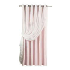 Wide Width Tulle Sheer Lace Blackout 2-Piece Curtain Set, Light Pink
