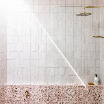 Esplanade Home, retro pink bathroom