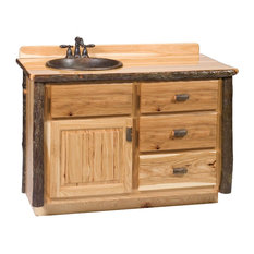 """Hickory Log Vanity, 36, 42, 48"""" Without Top, Sink Left, 48"""", Cognac"""