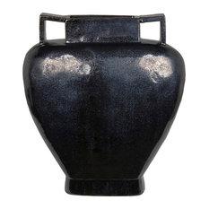 Privilege Large Ceramic Vase, Distressed Black Finish