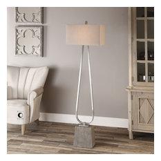 Uttermost Carugo Floor Lamp, Polished Nickel