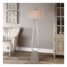 Uttermost Carugo Floor Lamp, Polished Nickel