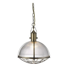Industrial Style Antique Brass Pendant, With Clear Ribbed Glass