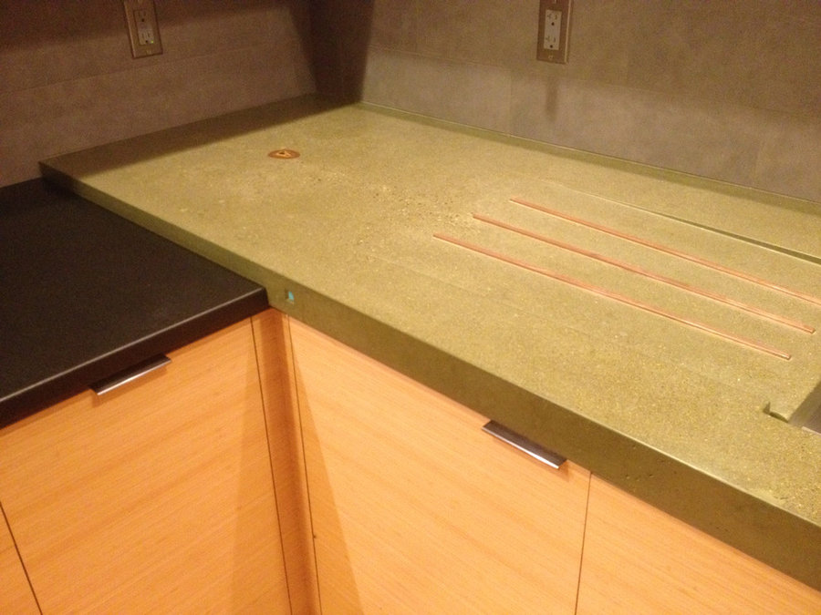 Olive green concrete countertop