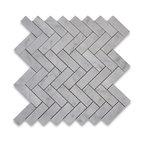 """12""""x12.75"""" Carrara White Herringbone Mosaic Tile Polished, Chip Size: 1""""x3"""""""