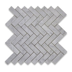 "12""x12.75"" Carrara White Herringbone Mosaic Tile Polished, Chip Size: 1""x3"""