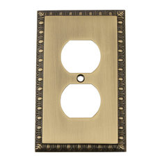 NW Egg & Dart Switch Plate With Outlet, Antique Brass