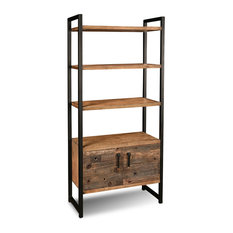 """Atwood Rustic Industrial Distressed Solid Wood 72"""" Tall Bookcase"""