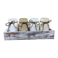 Neutral Mason Jar Planter Box Centerpiece, 5 Piece Set