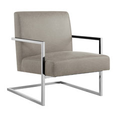 Nicole Miller Leighton Accent Chair With Square Frame, Light Grey/Chrome, Pu Lea