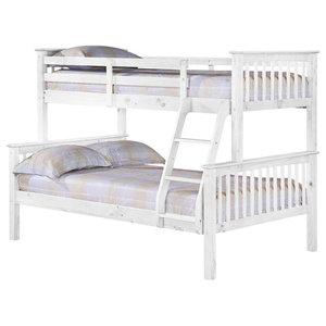 Porto Single Over Small Double White Wooden Bunk Bed