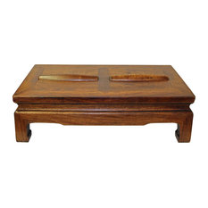 Golden Lotus Antiques   Brown Rosewood Simple Oriental Rectangular Rolling  Bar Footrest Table   Coffee Tables