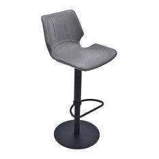 Zuma Adjustable Swivel Metal Barstool In Vintage Gray Pu And Black Metal Finish