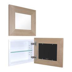 14x11 Landscape Mirrored Medicine Cabinet, Unfinished Flat Frame