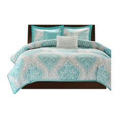 Peach Skin Printed Comforter Set, Blue, Twin/Twin XL