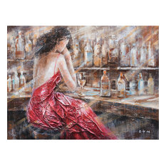 """Patience Red Dress"" Hand Painted Oil Canvas Art"