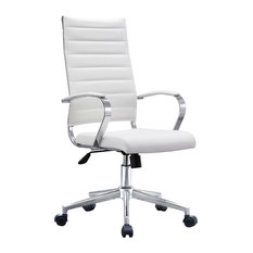 Executive Ergonomic High Back Cushion Seat Office Chair Ribbed PU Leather, White